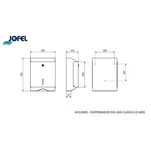 DISPENSADOR TOALLETA AH12000 INOX 600 JOFEL