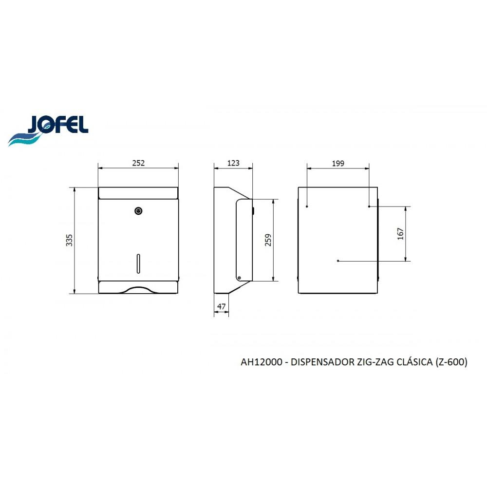 DISPENSADOR TOALLETA AH12000 INOX 600 JOFEL
